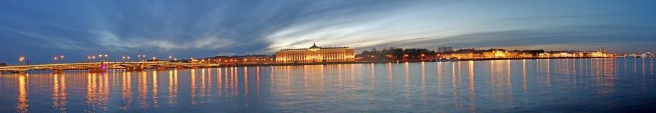 Panoramic night view of St. Petersburg. Neva river Stock Photo