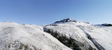 Panoramic of northern Angletarn Pike in the snow. Above Dubhow Brow near Patterdale, Lake District Stock Photo
