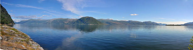 Panoramic norwegian landscape on hardangerfjord Stock Photo