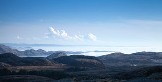 Panoramic Norwegian landscape with sea and sky Royalty Free Stock Photography