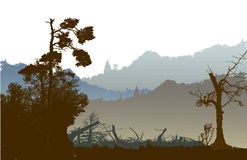 Panoramic nostalgic landscape with mountains, silhouettes of trees and plants Royalty Free Stock Photo