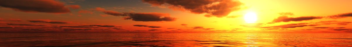 Panoramic ocean sunset panorama of sunrise over the sea, the light in the clouds over the sea. Panoramic ocean sunset panorama of sunrise over the sea Stock Images