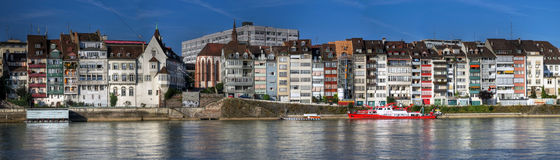 Panoramic Of Waterfront Houses, Basel, Switzerland Royalty Free Stock Photos