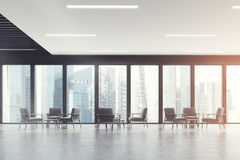 Panoramic office waiting room, dark toned Stock Images