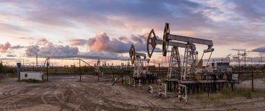Panoramic oil pumpjack. Stock Photos