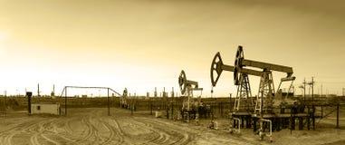Panoramic oil pumpjack. Stock Photography