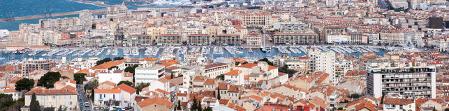 Panoramic on the old harbor of Marseille Stock Image