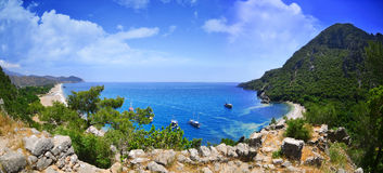 Panoramic Olympos Beach. Stock Images