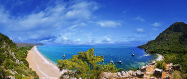 Panoramic Olympos Beach Royalty Free Stock Photography