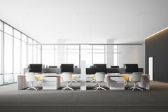 Panoramic open space office, gray walls. Modern gray wall open space office interior with a gray floor, rows of computer tables and panoramic windows. 3d Stock Photo