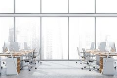 Panoramic open space office interior stock photography