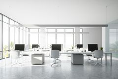 Panoramic open space office. Modern white wall open space office interior with a concrete floor, rows of computer tables and panoramic windows. 3d rendering mock Stock Image