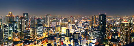 Panoramic Osaka at night Stock Image