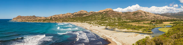 Panoramic of Ostriconi beach and Desert des Agriates in Corsica Stock Images