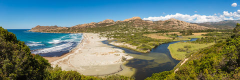 Panoramic of Ostriconi beach and Desert des Agriates in Corsica Royalty Free Stock Photography