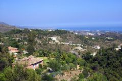 Panoramic outdoor aerial view of Marbella city in Andalusia, Spain, Europe Royalty Free Stock Images
