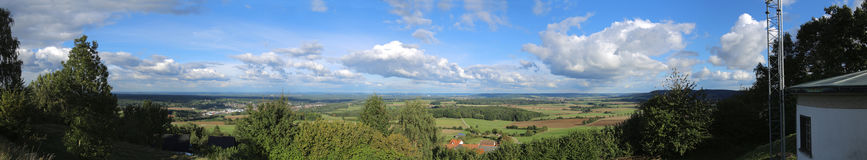 Panoramic outlook from the mountain Schlossberg in Bavaria Royalty Free Stock Images