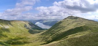 Panoramic over Glencoyne to Ullswater, Lake District Royalty Free Stock Photography