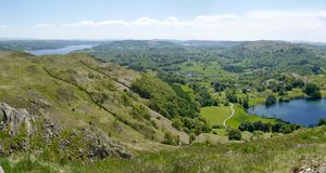 Panoramic over Loughrigg area, Lake District, England. Panoramic of Loughrigg area and Windermere Royalty Free Stock Photo