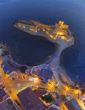 Panoramic overhead night view of Aragonese Fortress, Calabria, I. Taly Stock Photography