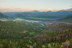 Panoramic overlook over the Rocky Mountains Royalty Free Stock Photos