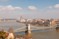 Panoramic overview of Budapest on foreground the Parliament building and chain bridge Stock Image