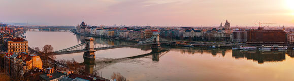 Panoramic overview of Budapest with the Parliament building. At sunrise Royalty Free Stock Photography