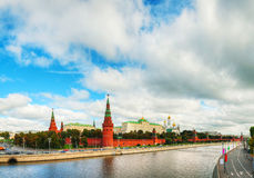 Panoramic overview of downtown Moscow with Kremlin Stock Photos
