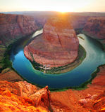 Panoramic overview of Horseshoe Bend near Page, Arizona Stock Photography