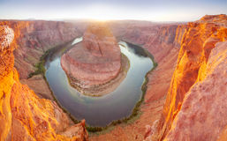 Panoramic overview of Horseshoe Bend near Page, Arizona Royalty Free Stock Images