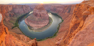 Panoramic overview of Horseshoe Bend near Page, Arizona Royalty Free Stock Photos