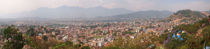 Panoramic overview of the Nepalese capital Kathman Royalty Free Stock Photo