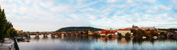Panoramic overview of old Prague with Charles bridge Stock Image