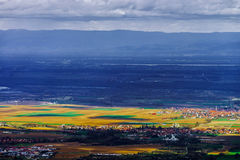 Panoramic overview to Alsace from abbey Mont Saint Odile. Spring Royalty Free Stock Photography