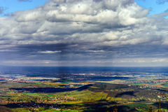 Panoramic overview to Alsace from abbey Mont Saint Odile. Spring Royalty Free Stock Images