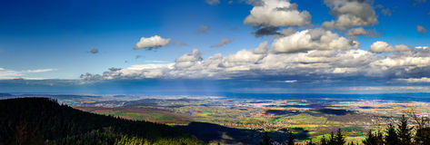 Panoramic overview to Alsace from abbey Mont Saint Odile. Spring Royalty Free Stock Photos