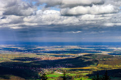Panoramic overview to Alsace from abbey Mont Saint Odile. Spring Stock Photos