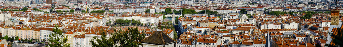 Panoramic overview to Lyon city, orange roofs and new buildings Royalty Free Stock Photo