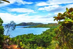 Panoramic overview to paradise beach anse lazio,praslin,seychelles 2. Hiking throug the jungle between the paradise beaches anse lazio and anse georgette royalty free stock photo