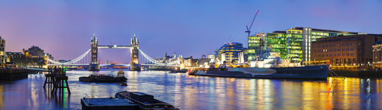 Panoramic overview of Tower bridge in London, Great Britain. At night stock photo