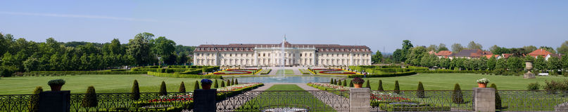 Panoramic palace Ludwigsburg. With Baroque Park Springtime Royalty Free Stock Image