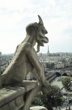 Panoramic of Paris with Gargoyle Royalty Free Stock Photos