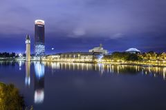 Panoramic Pelli Tower from Guadalquivir River, night royalty free stock images