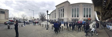 Panoramic of people outside for FDNY & NYPD game at Yankee Stadi Stock Images