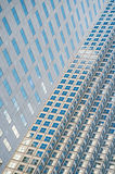 Panoramic and perspective wide angle view to steel blue background of glass Royalty Free Stock Photo