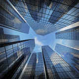 Panoramic and perspective wide angle view to steel light blue. Background of glass highrise building skyscraper, modern futuristic commercial city Business Stock Photos