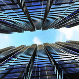 Panoramic and perspective wide angle view to steel light blue. Background of glass highrise building skyscraper, modern futuristic commercial city Business Royalty Free Stock Images