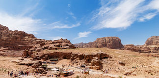 Panoramic Petra Jordan. Panoramic view of Petra the lost city in Jordan Royalty Free Stock Photography
