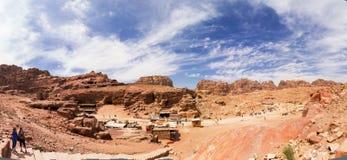 Panoramic Petra Jordan. Panoramic view of Petra the lost city in Jordan Royalty Free Stock Image