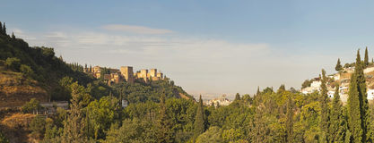 Panoramic photo of the Alhambra. Royalty Free Stock Image